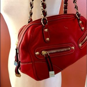 Gucci Red Capri Mini Bowler Handbag Leather